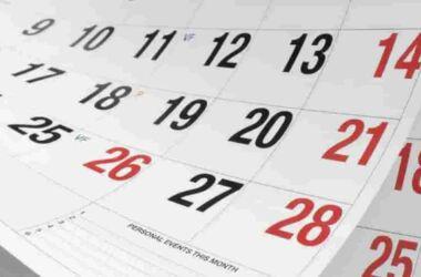 calendario in rosso e nero