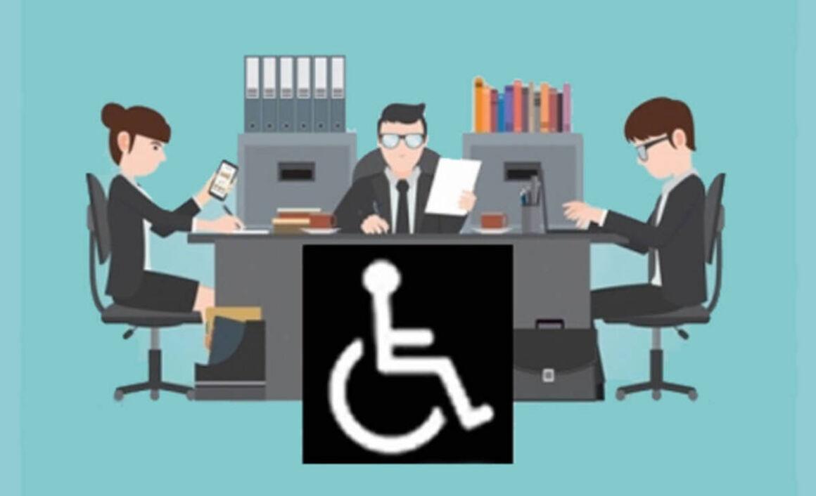 Lavoro per disabili in un disegno