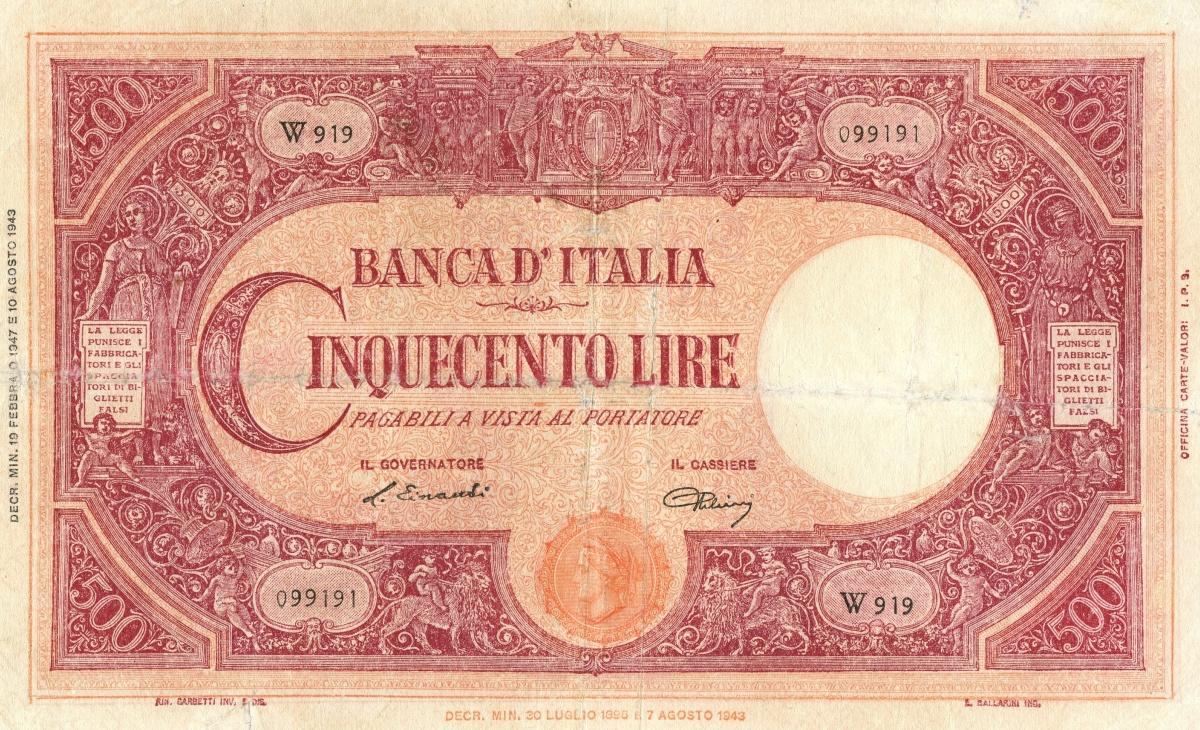 Il valore della banconota da 500 Lire