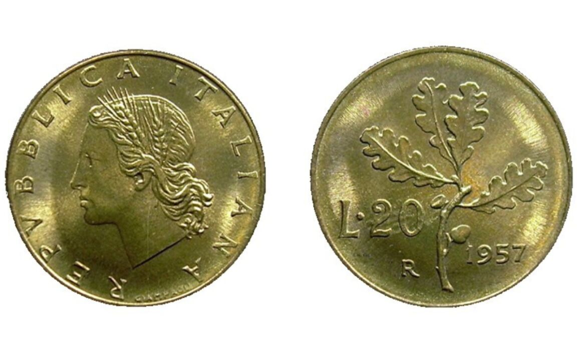20 lire ramo di quercia rare