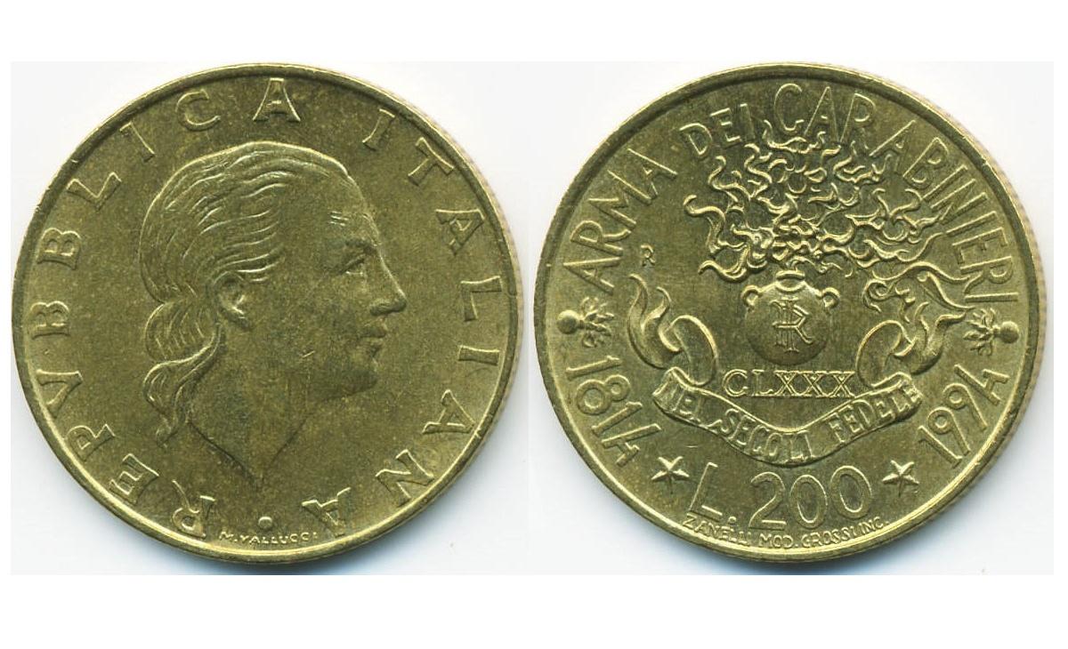200 lire Arma dei Carabinieri del 1994