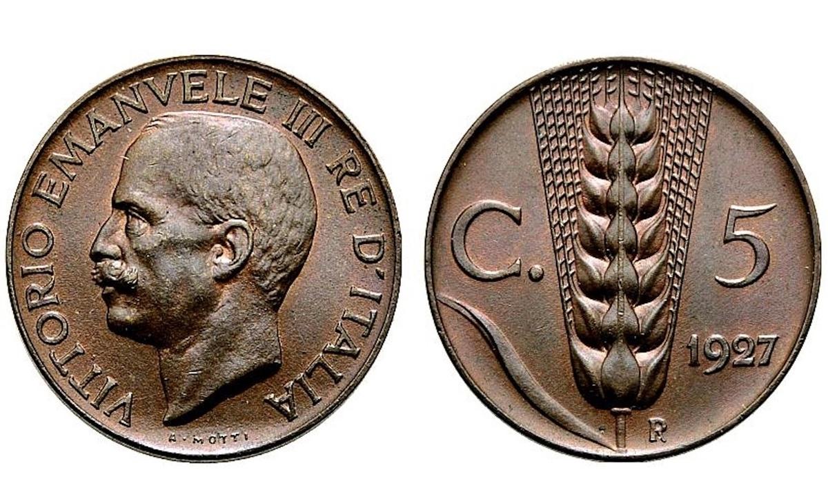 Valore 5 Centesimi Spiga Vittorio Emanuele III