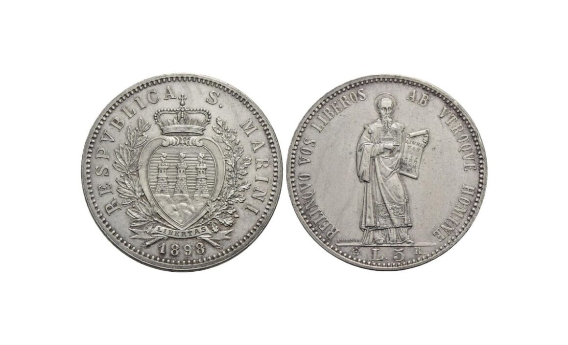 5 lire Repubblica di San Marino 1898