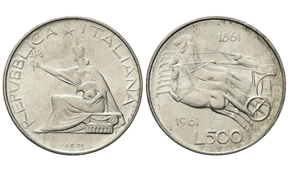 Valore 500 lire centenario dell'Unità d'Italia