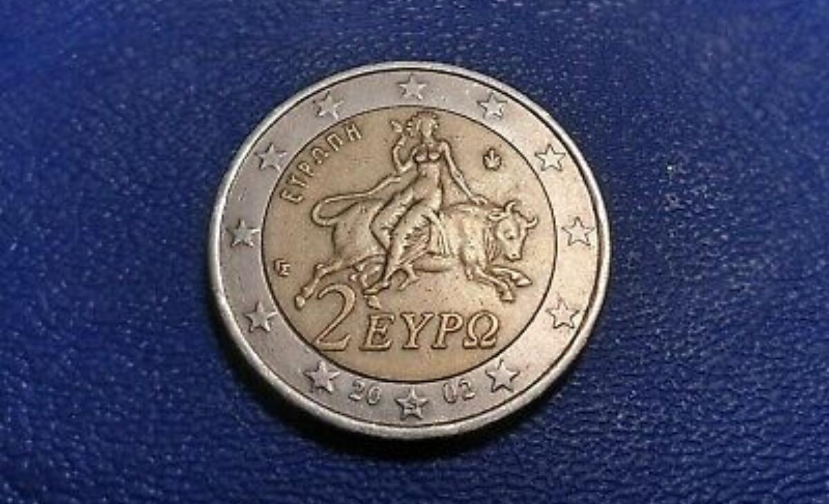 """Moneta da 2 euro della Grecia del 2002 con la """"S"""""""