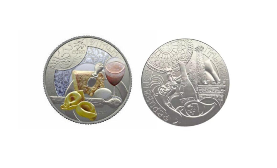 Moneta da 5 euro Lambrusco e Tortellini