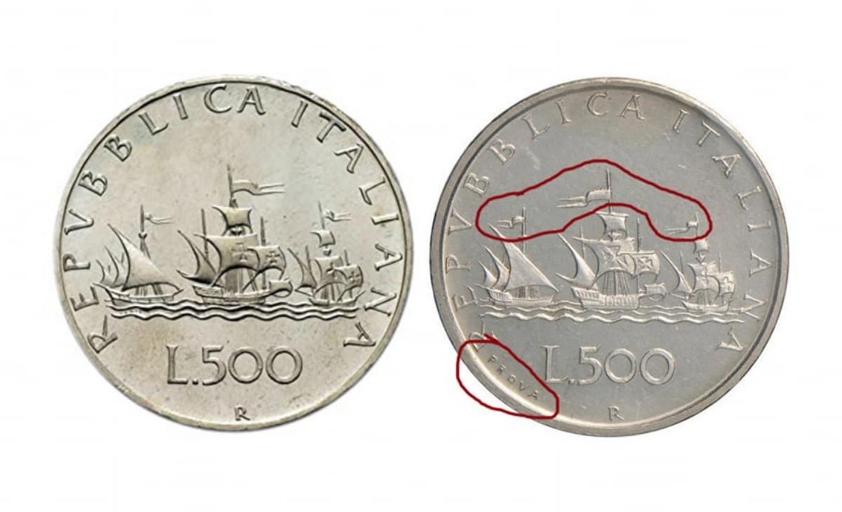 Valore della moneta da 500 lire Caravelle prova