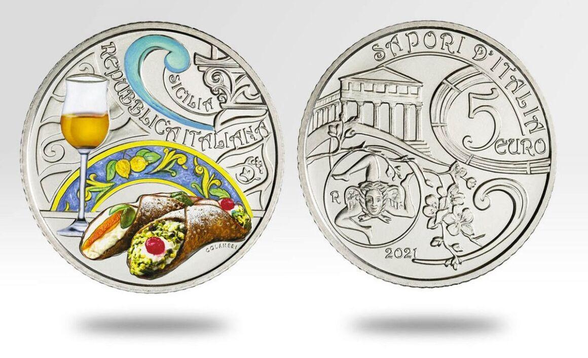 Caratteristiche moneta da 5 euro con cannolo e passito siciliano