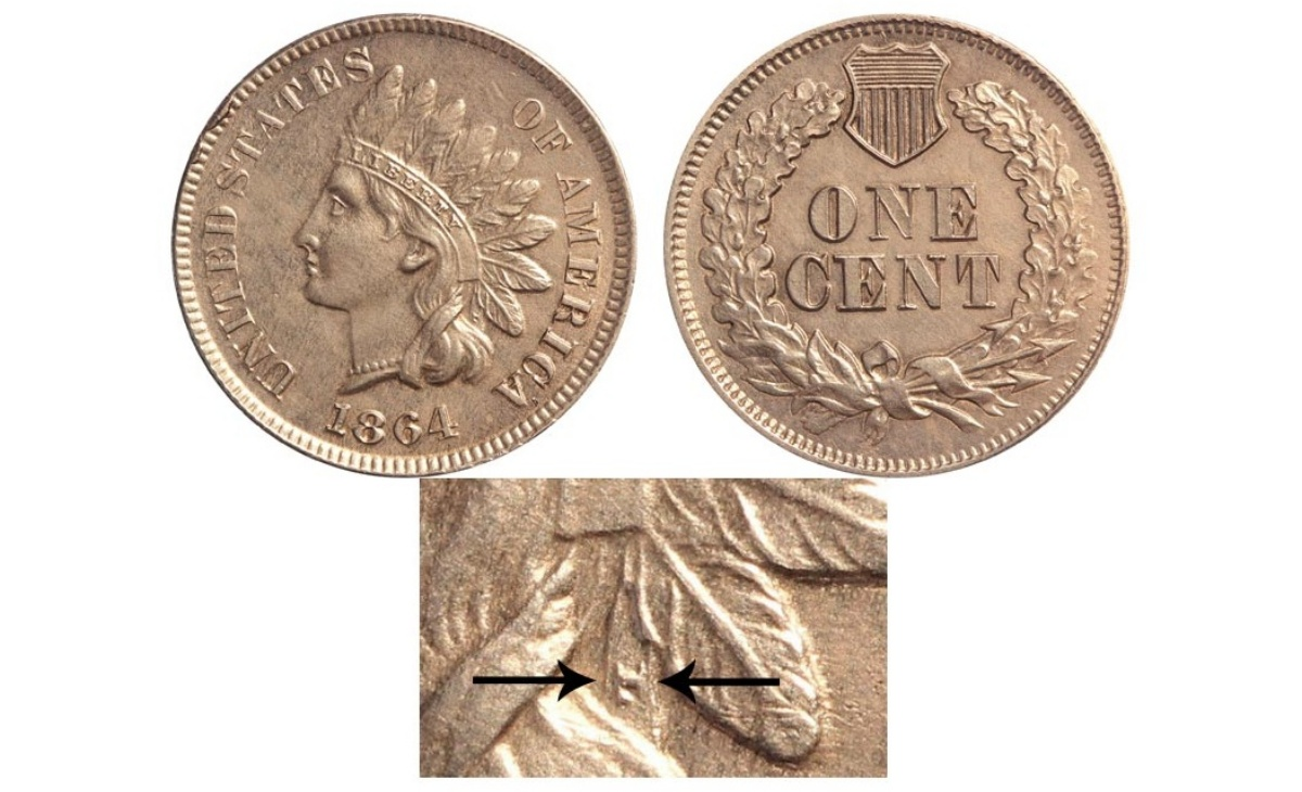 "Valore della moneta da 1 Centesimo di Dollaro 1864 Indian Head Penny–""L"" on Ribbon"