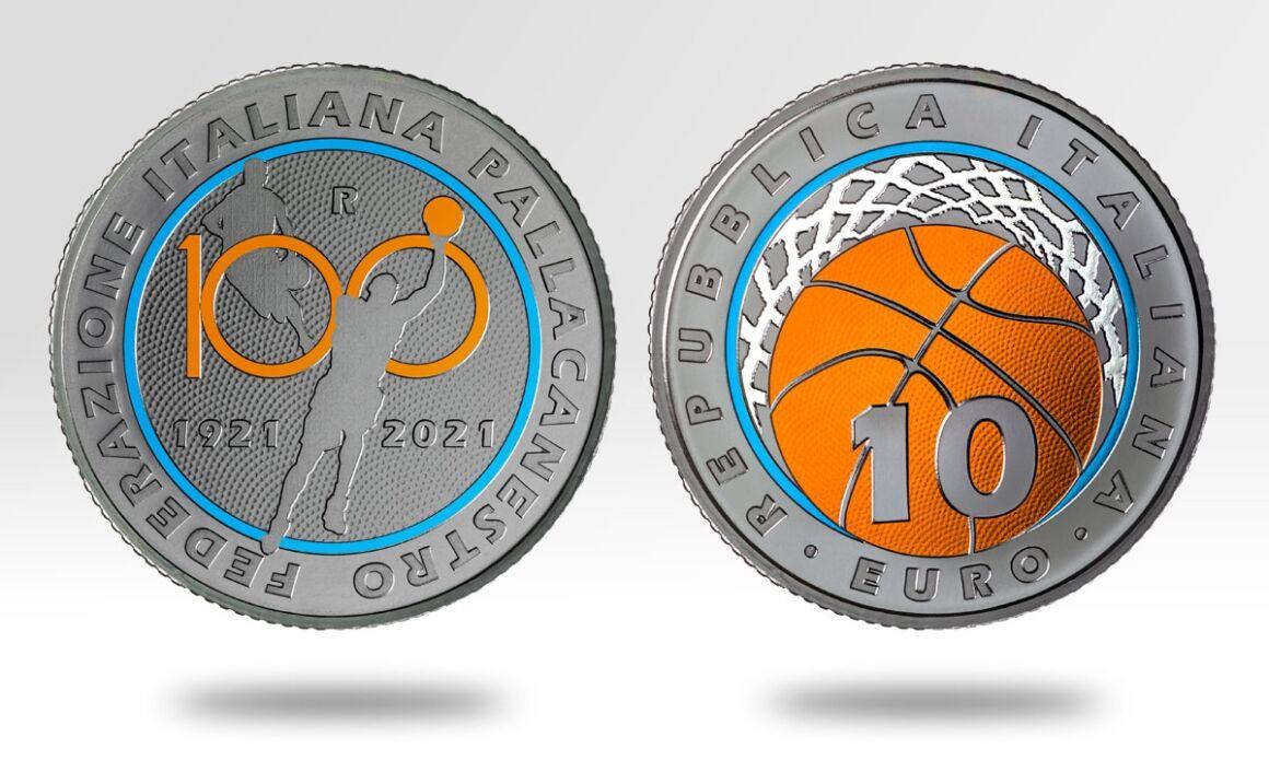 Valore moneta da 10 euro 100° Anniversario della Federazione Italiana Pallacanestro