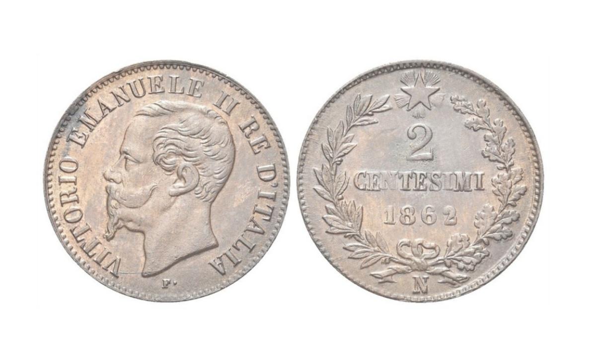 Valore della moneta da 2 Centesimi di Lire Vittorio Emanuele II