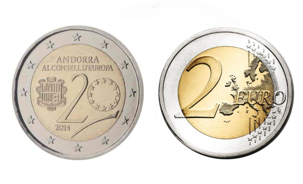 Valore della moneta da 2 Euro Commemorativi Andorra 2014 Consiglio Europeo