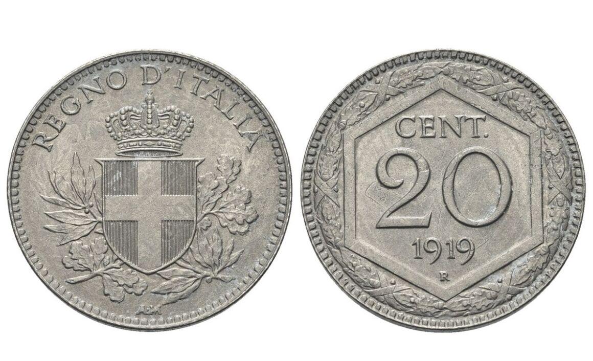 Valore della moneta da 20 Centesimi Esagono Vittorio Emanuele III