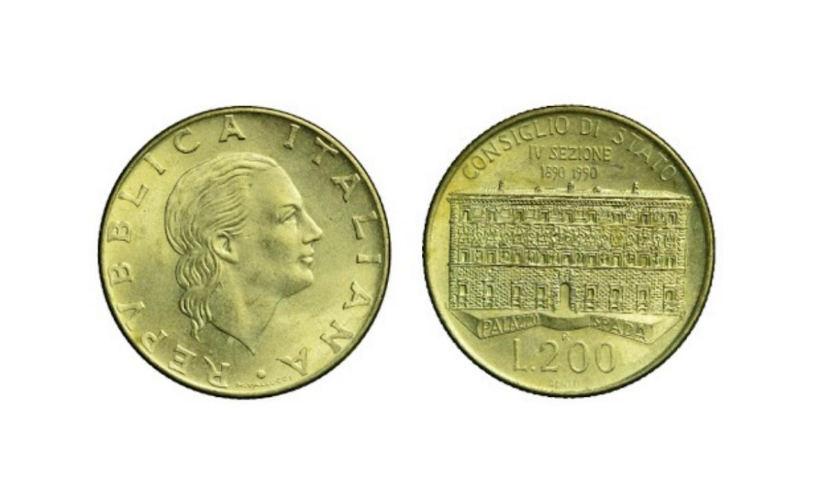 Valore della moneta da 200 Lire Consiglio di Stato del 1990