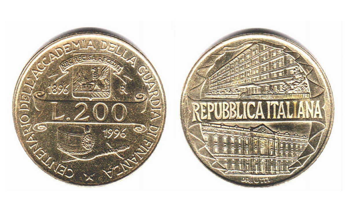 Valore moneta da 200 lire 1996 Accademia Guardia di Finanza