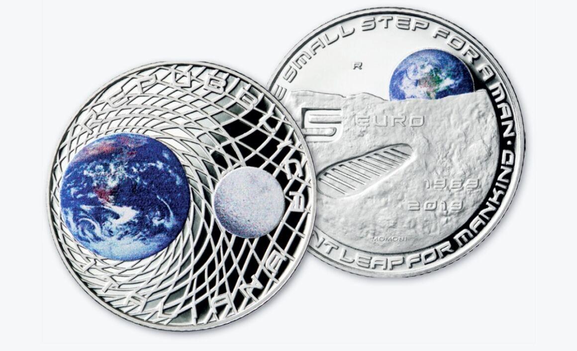 Valore della moneta da 5 euro 50° Anniversario dello sbarco dell'uomo sulla Luna