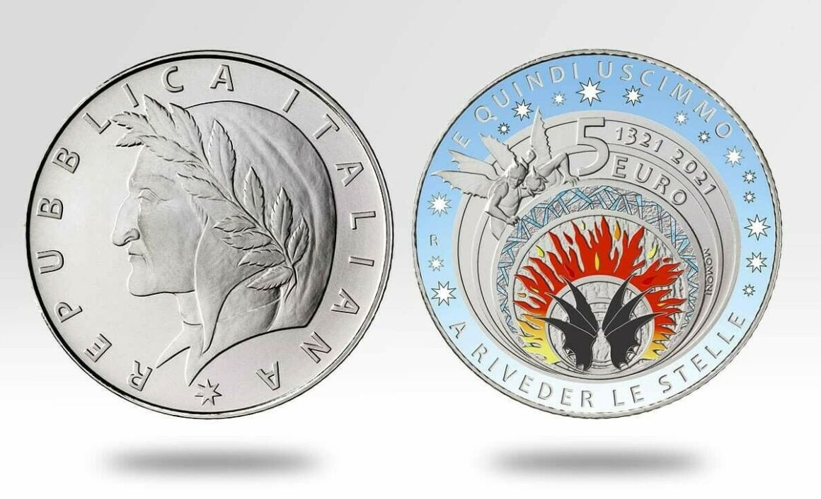 Valore della moneta da 5 euro 700° Anniversario della scomparsa di Dante Alighieri Inferno