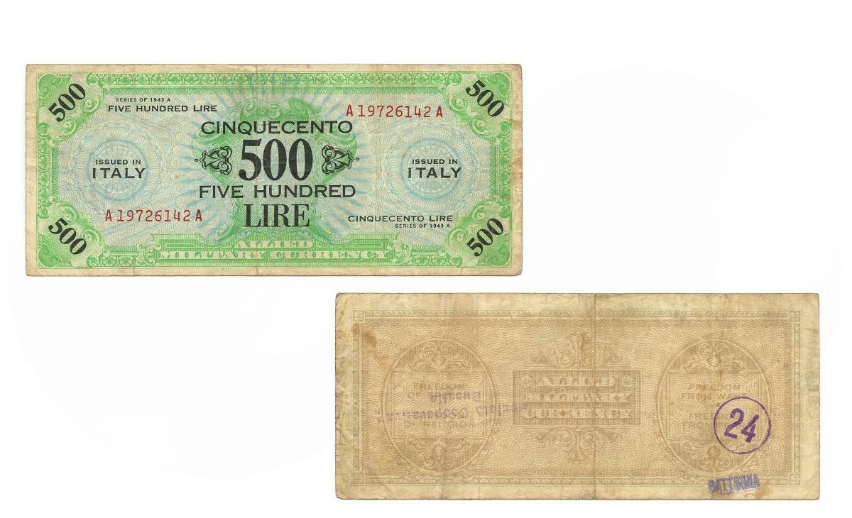 Valore banconota da 500 Lire di Carta Americane AM - Lire