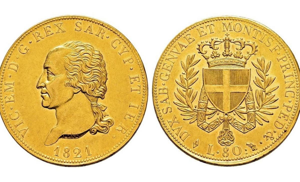 Valore della moneta da 80 lire 1821 Vittorio Emanuele I