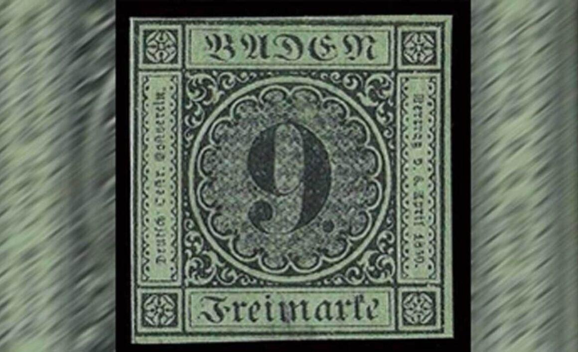 Francobollo raro Baden 9 Kreuzer