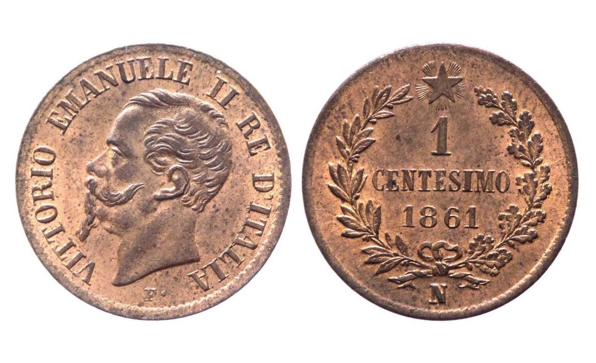 Valore moneta da 1 Centesimo Vittorio Emanuele II