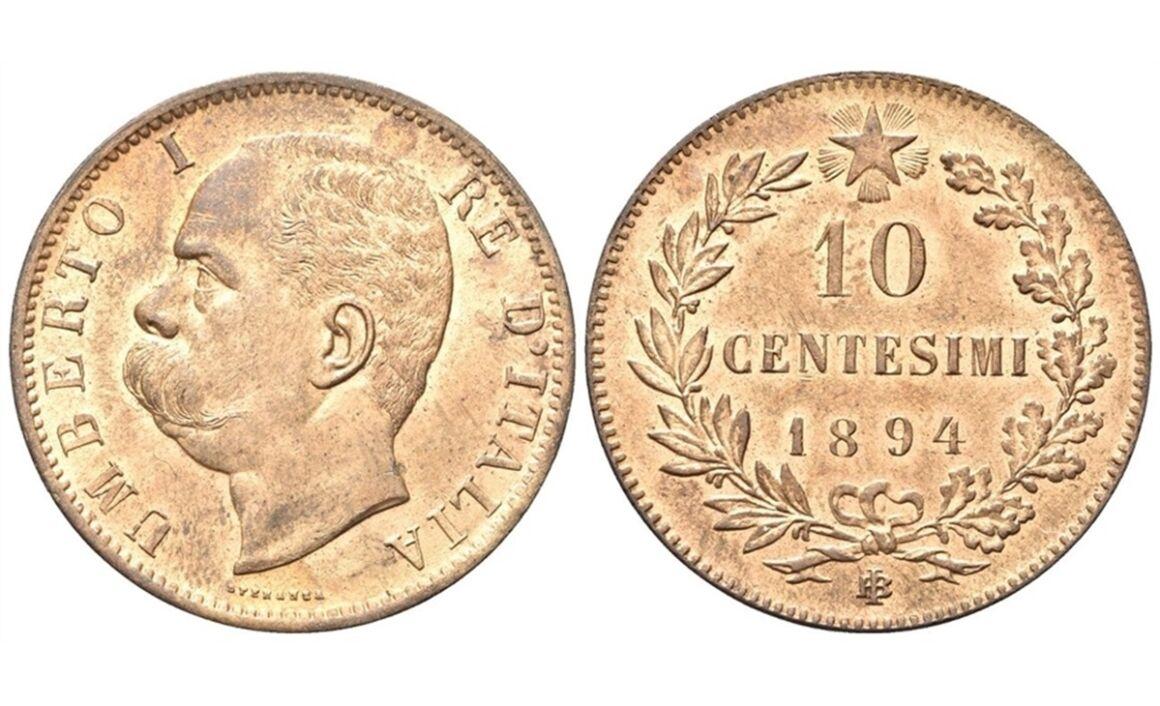 Valore moneta da 10 Centesimi Umberto I