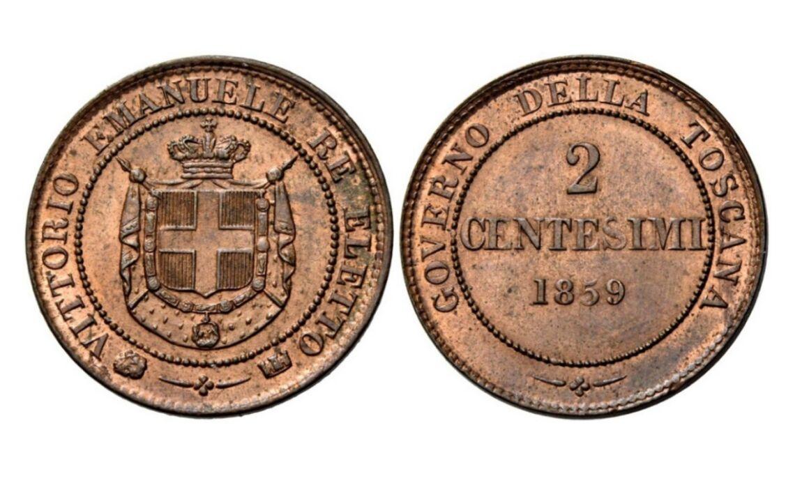 Valore moneta da 2 Centesimi di Lire Governo provvisorio della Toscana