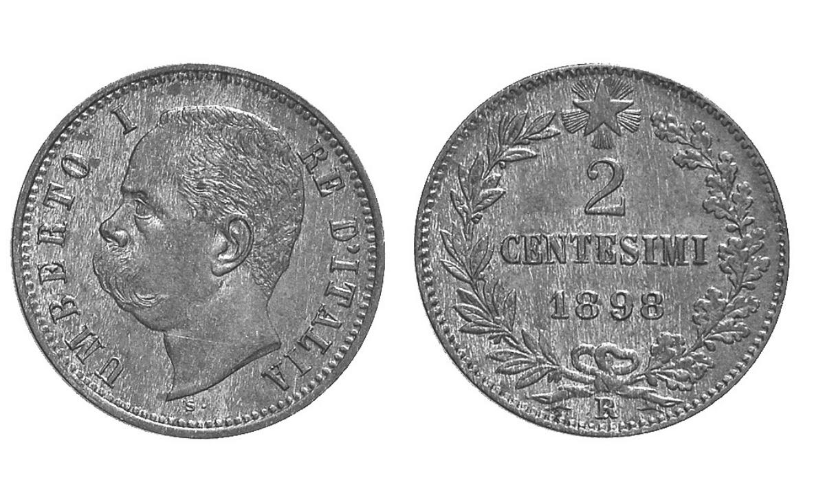 Valore moneta da 2 Centesimi di Lire Umberto I