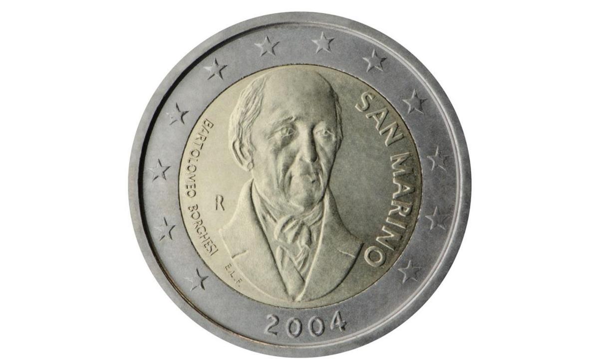 Valore moneta da 2 Euro Commemorativi San Marino 2004 Bartolomeo Borghesi