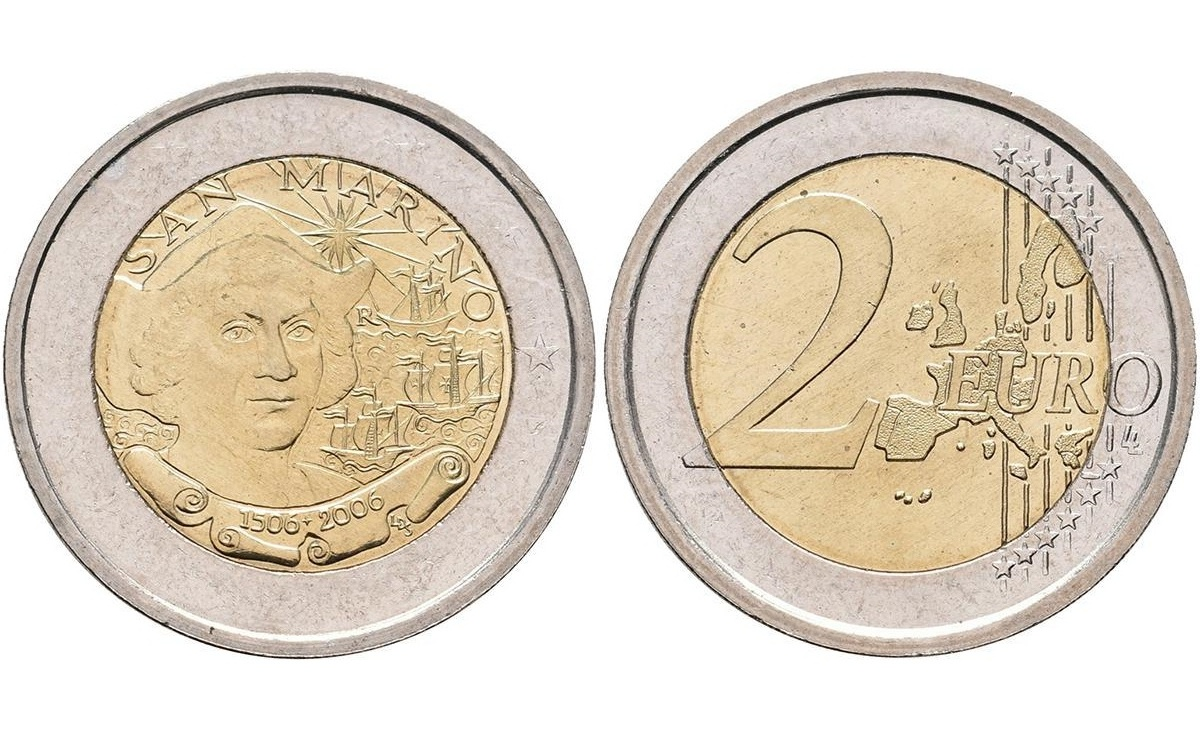 Valore moneta da 2 euro San Marino 2006 Cristoforo Colombo