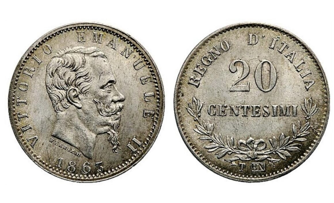 Valore moneta da 20 Centesimi 1863 Valore Vittorio Emanuele II