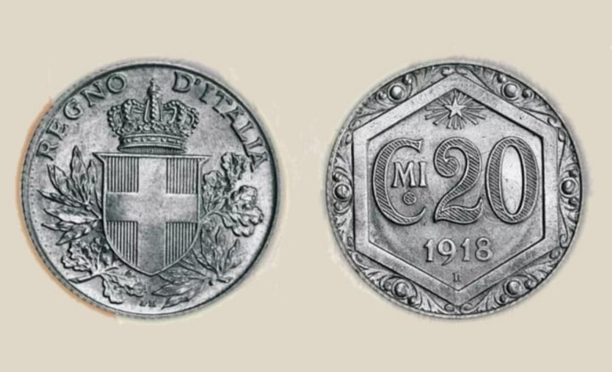 Valore moneta da 20 Centesimi Esagono 1918 PROVA
