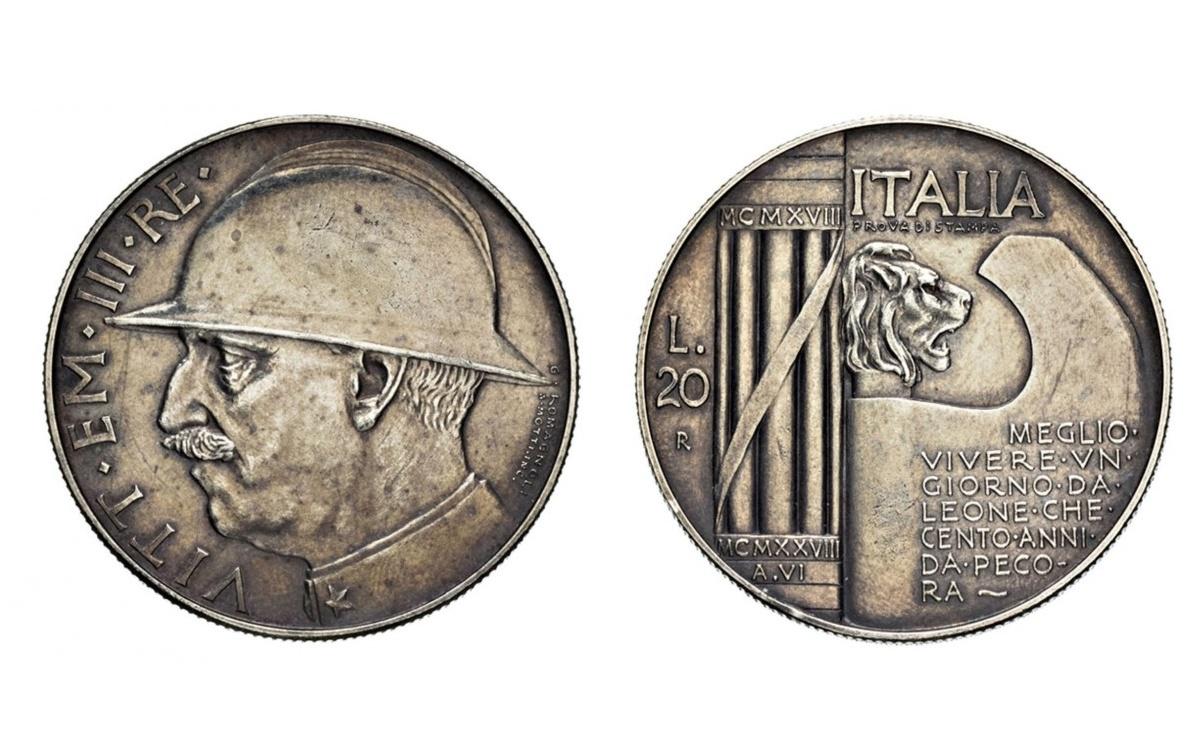 Valore delle 20 Lire 1928 elmetto ORO – PROVA