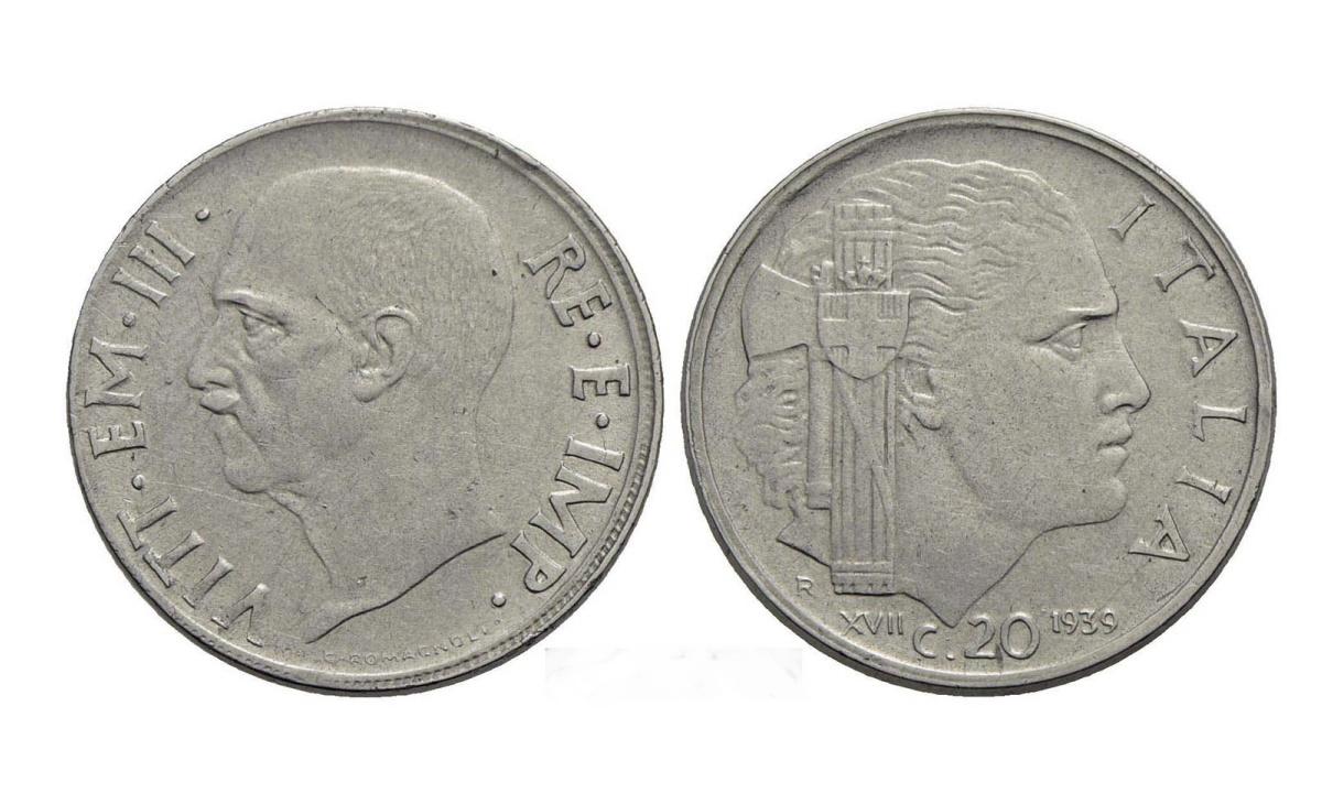 Valore moneta da 20 centesimi Impero Vittorio Emanuele III