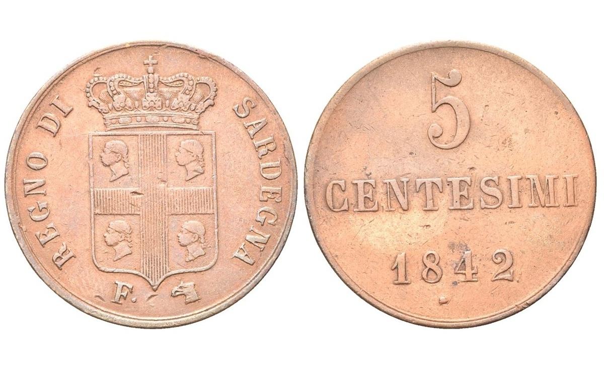 Valore della moneta da 5 Centesimi Carlo Alberto