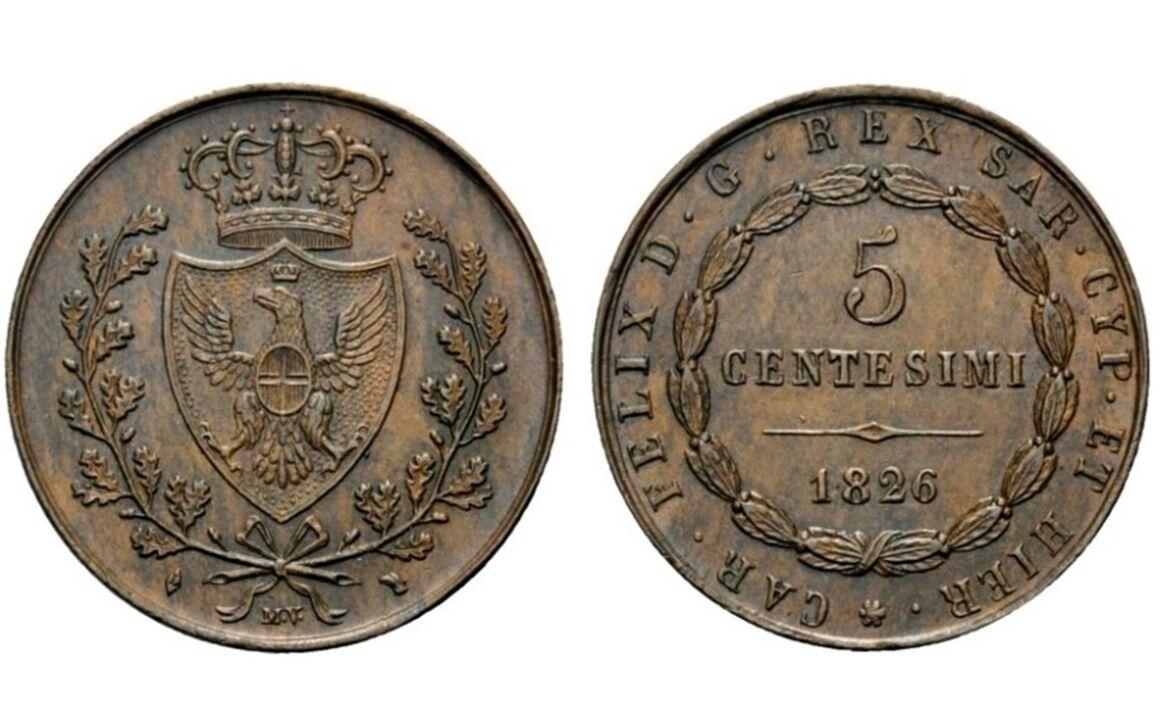 Valore della moneta da 5 Centesimi Carlo Felice