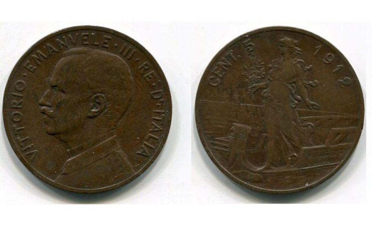Valore moneta da 5 Centesimi Italia su Prora Vittorio Emanuele III