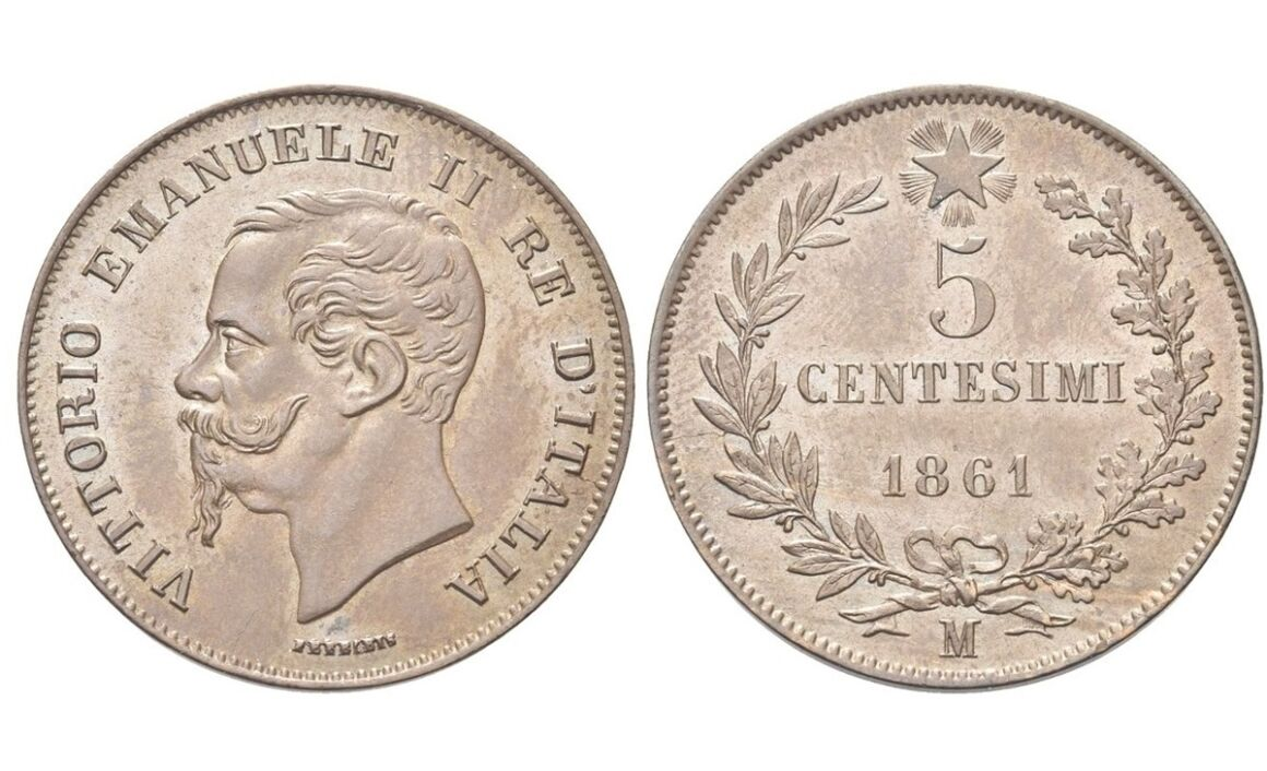 Valore moneta da 5 Centesimi Vittorio Emanuele II Re di Italia