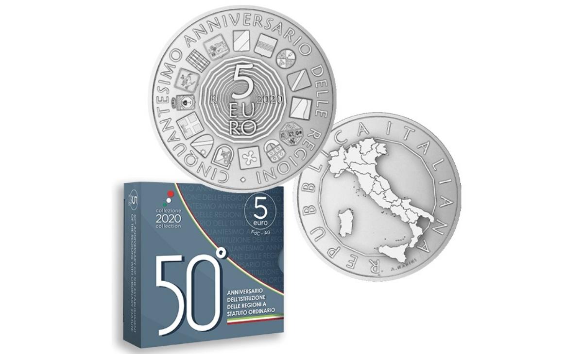 Valore moneta da 5 euro 50° Anniversario dell'istituzione delle Regioni a statuto ordinario