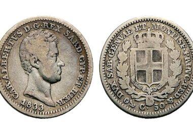 Valore della moneta da 50 Centesimi Carlo Alberto