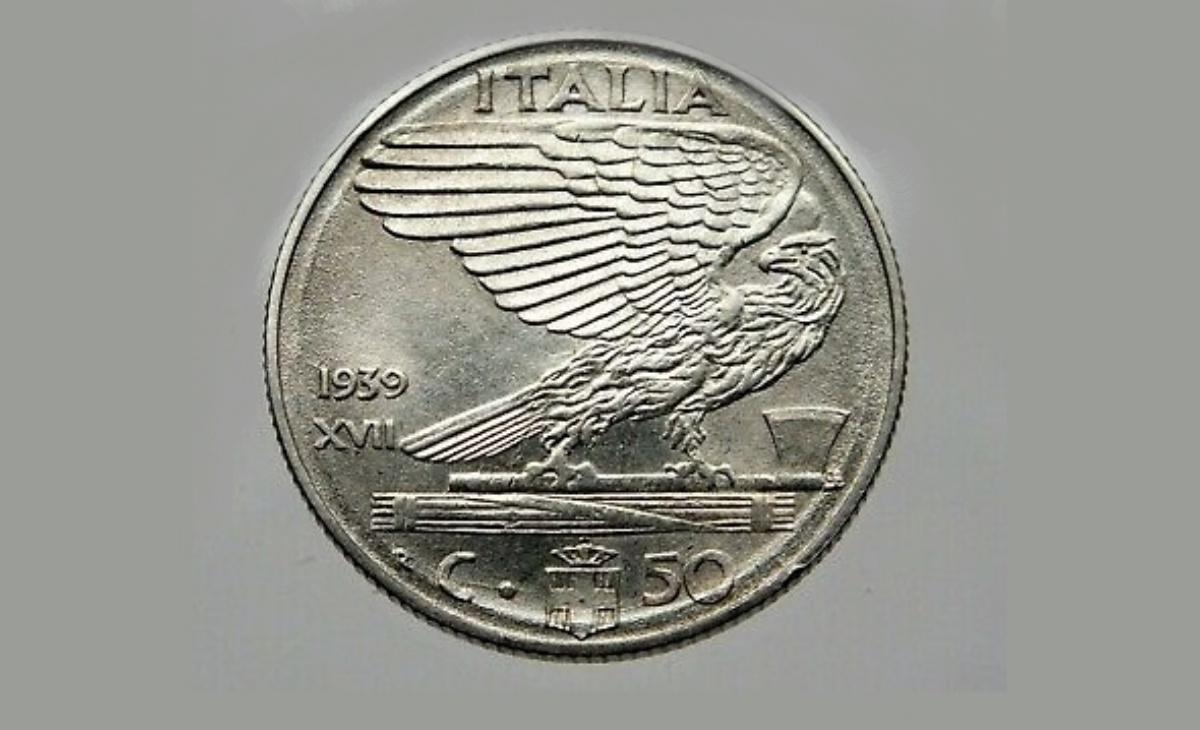Valore moneta da 50 Centesimi Lire Vittorio Emanuele III Impero
