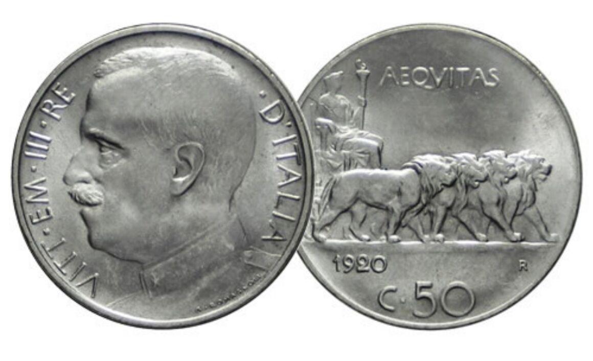 Valore della moneta da 50 Centesimi Vittorio Emanuele III – Leoni