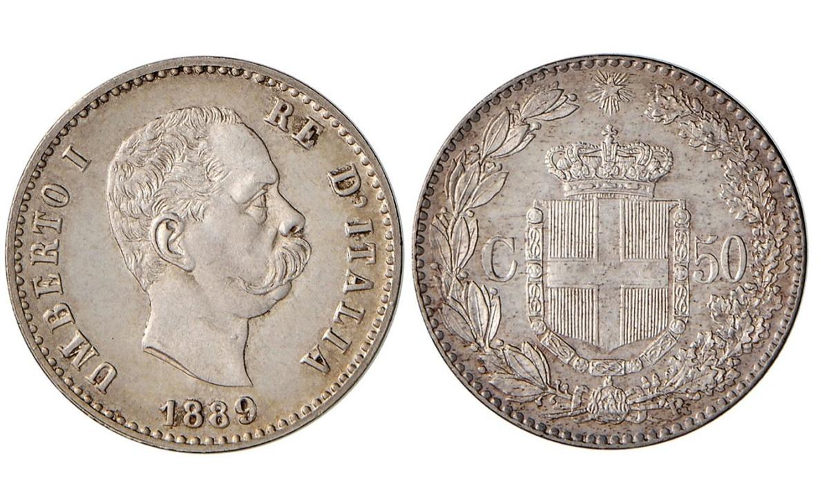 Valore della moneta da 50 Centesimi di Lira Umberto I