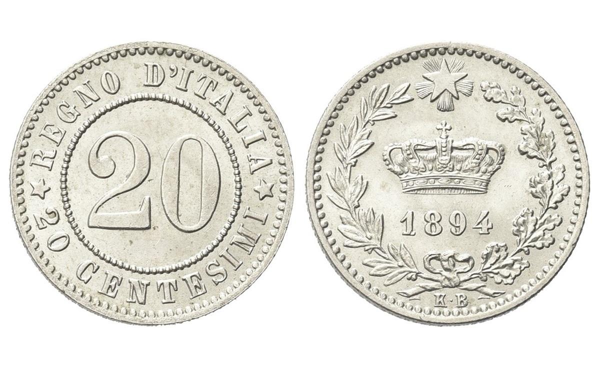Valore del Nichelino 20 Centesimi 1894 Umberto I