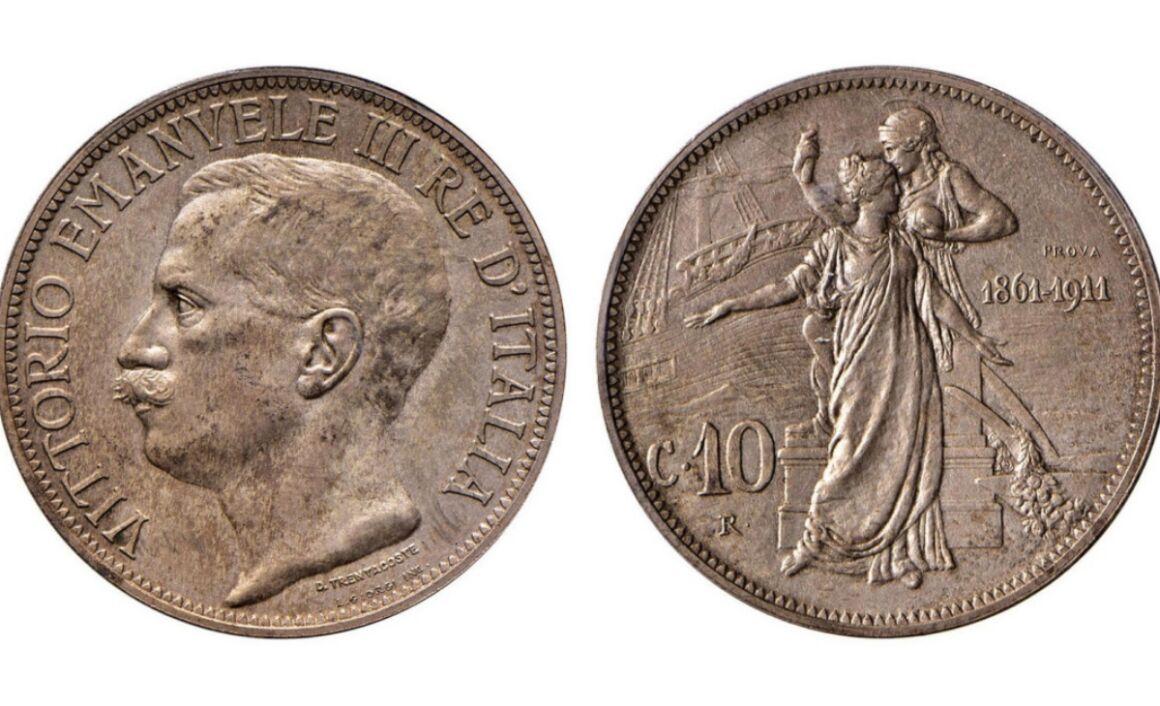 Valore della moneta da 10 Centesimi Cinquantenario PROVA 1911