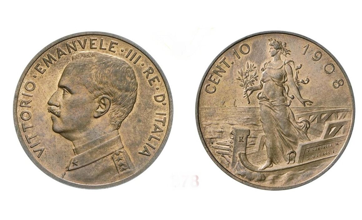 Valore moneta da 10 Centesimi Prora Vittorio Emanuele III 1908
