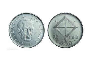 Valore moneta da 100 Lire Guglielmo Marconi del 1974