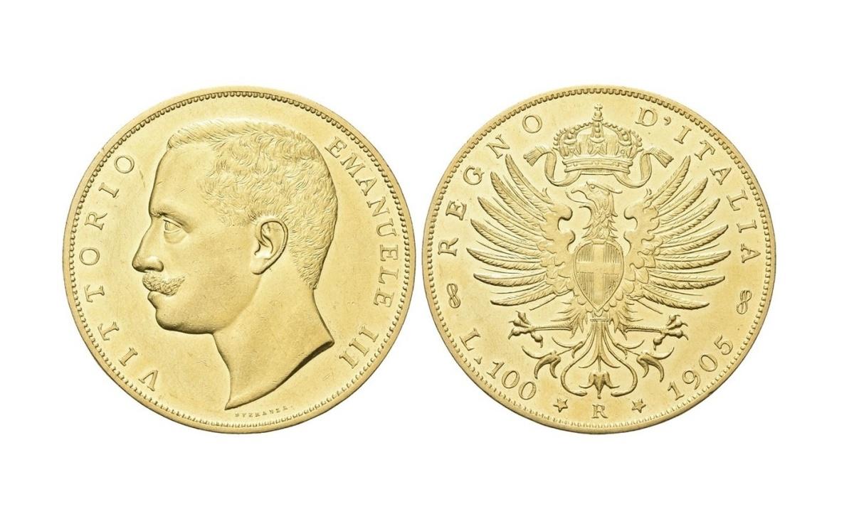 Valore della moneta da 100 lire d'oro Aquila Sabauda del Regno D'Italia