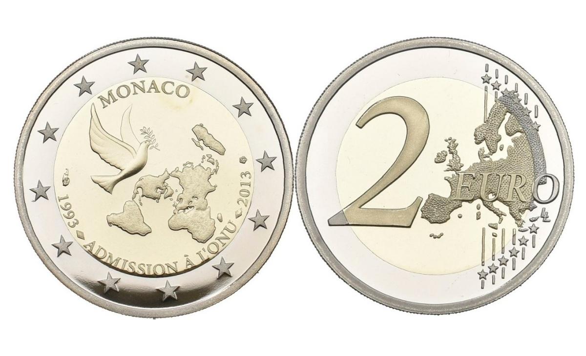 Valore moneta da 2 Euro Commemorative Monaco 2013 ONU