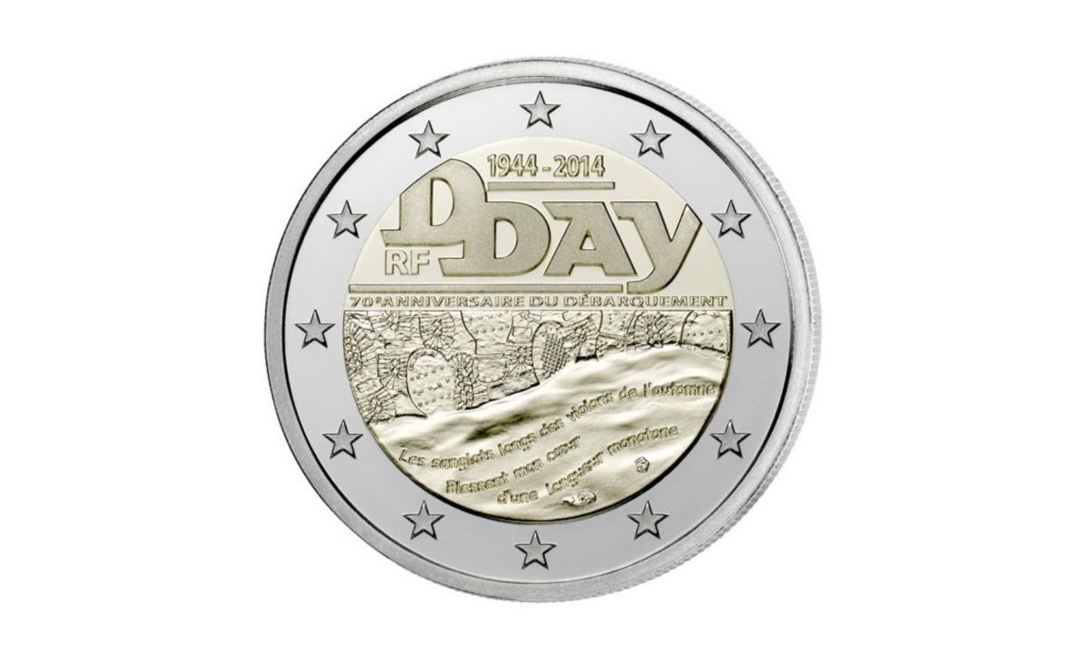 Valore moneta da 2 Euro Commemorativi Francia 2014 – Sbarco in Normandia